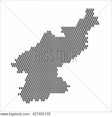North Korea Country Map Made With Bitcoin Crypto Currency Logo
