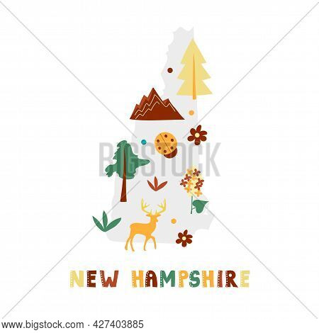 Usa Map Collection. State Symbols And Nature On Gray State Silhouette - New Hampshire. Cartoon Simpl