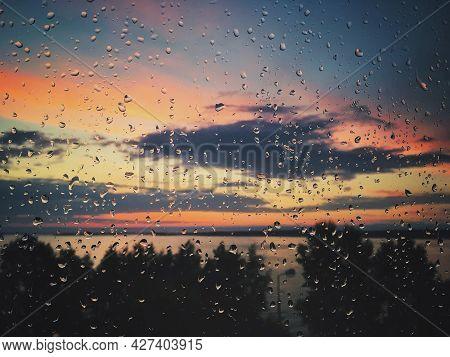 Raindrop On The Glass Window, Colorful Sunset, Sky, Trees, Lake, Sunrise