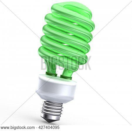 Fluorescent saving light bulb on green background 3d render
