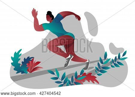 An African-american Woman Is Engaged In Sports Running. A Young Girl Runs In A Sports Uniform, T-shi