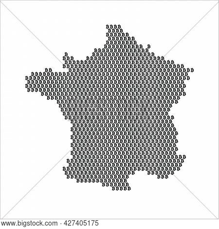 France Country Map Made With Bitcoin Crypto Currency Logo