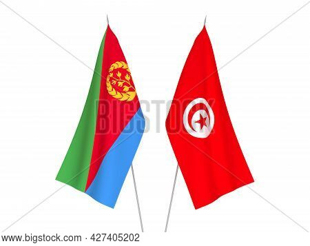 National Fabric Flags Of Eritrea And Republic Of Tunisia Isolated On White Background. 3d Rendering