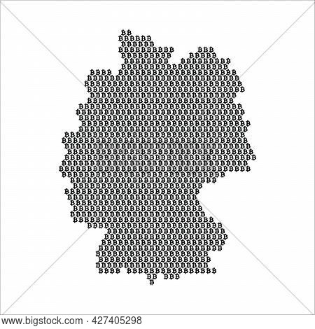 Germany Country Map Made With Bitcoin Crypto Currency Logo