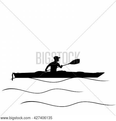 Silhouette Boy Learns Paddling Kayak. Kayaking Water Sport. Illustration Icon Symbol