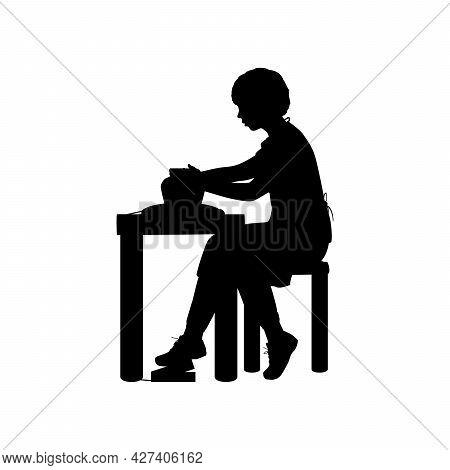Silhouette Boy Working On Pottery Wheel. Illustration Icon Logo Symbol