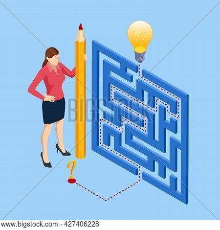 Isometric Maze, Labyrinth Solution. Business Team Looking For Solution In A Maze. Challenge. Puzzle