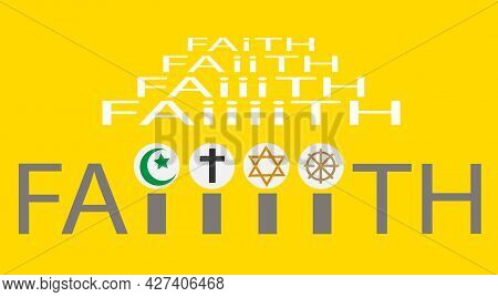 Concept Of World Religion Day With Word 'faith