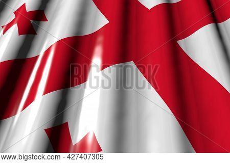 Nice Celebration Flag 3d Illustration  - Shiny - Looks Like Plastic Flag Of Georgia With Big Folds L