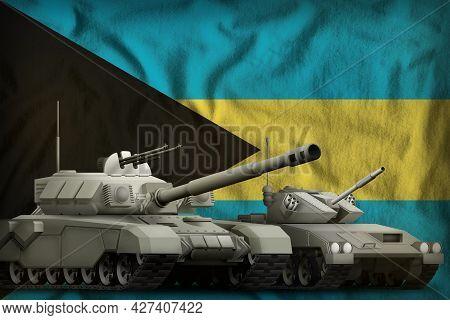 Tanks On The Bahamas Flag Background. Bahamas Tank Forces Concept. 3d Illustration