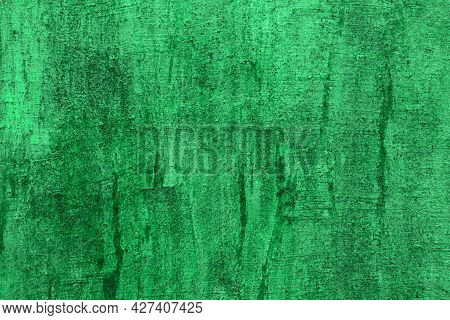 Beautiful Teal, Sea-green Striped Cement With Damaged Paint Texture - Abstract Photo Background
