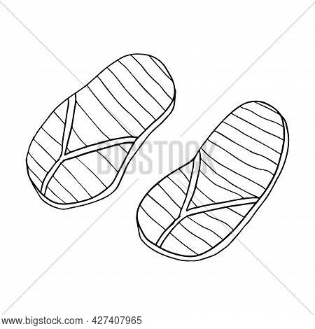 Abstract Doodle Rubber Sandals For A Beach Or Pool Isolated On White Background.