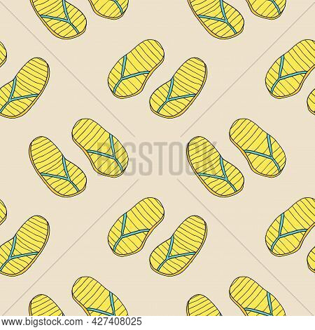Abstract Doodle Rubber Sandals For A Beach Or Pool Seamless Pattern. Summer Shoes Background.