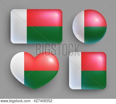 Set Of Glossy Buttons With Madagascar Country Flag. African Island State National Flag, Shiny Geomet
