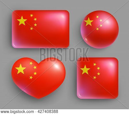 Set Of Glossy Buttons With China Country Flag. Asian Country National Flag, Shiny Geometric Shape Ba