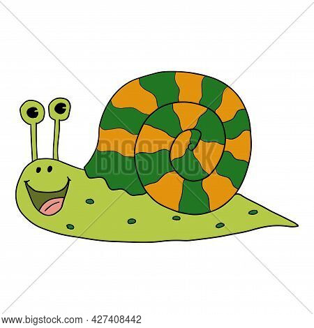 Cartoon Doodle Linear Happy Snail Isolated On White Background.