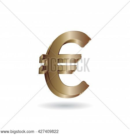 3d Vector Illustration Of Gold Euro Sign Isolated In White Color Background. European Union Currency