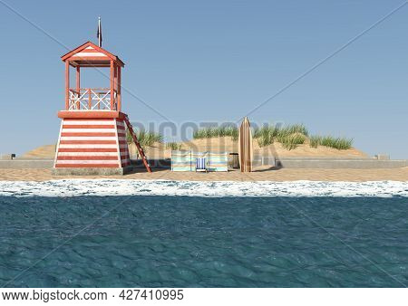3d Rendering Of A Seaside Signpost Ina Daylight