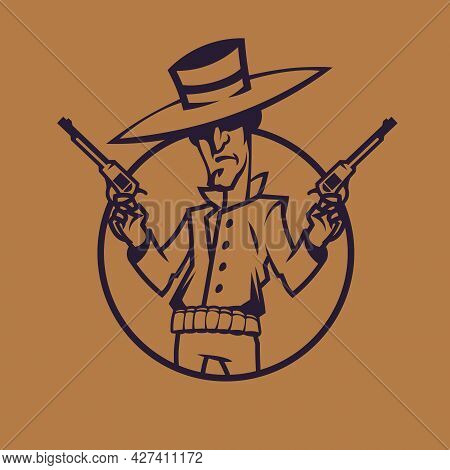 Cowboy Holding Revolvers. Wild West Concept Art In Monochrome Style.