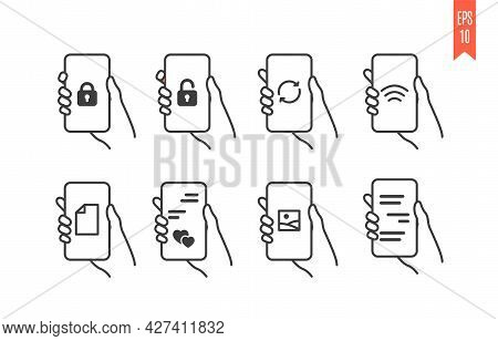 Set Of Mobile Phone Icons With Different Types Of Information On The Screen. Line Art Vector Symbols