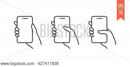 Symbols Of Mobile Phone With Hand On White Background. Swipe Down Symbols For A Smartphone. Set Of I