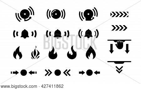 Isolated Set Of Icons For Marking Firefighting Equipment On White Background. Collection Of Fire And