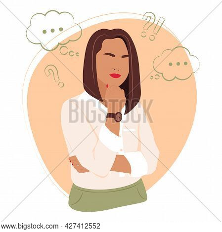 Vector Illustration Depicting A Thinking Girl. Flat Stock Illustration. Girl Thinks. Girl's Thoughts