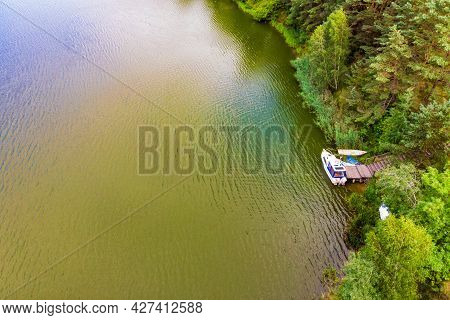 Aerial View Of Boat Yacht On Lake Shore During Summer. Tuchola National Park In Poland. Yachting, Ho