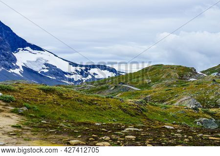 Summer Mountains Landscape In Norway. National Tourist Scenic Route 55 Sognefjellet.
