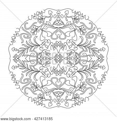 Mandala. Hearts And Lily Flowers. Anti-stress Coloring Page. Vector Illustration Black And White.
