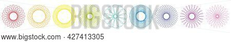 Spirograph Graphic Flowers, Colorful Different Geometric Circular Patterns. Isolated Vector Illustra
