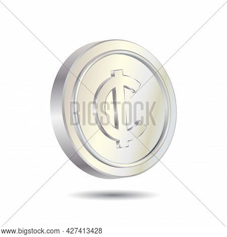 Silver Cent Coin Isolated On White Color Background. Currency Symbol Of Basic Monetary Unit. Simple
