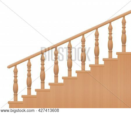 Wooden Banisters, Turned Stair Railings, Side View. Isolated Vector Illustration On White Background