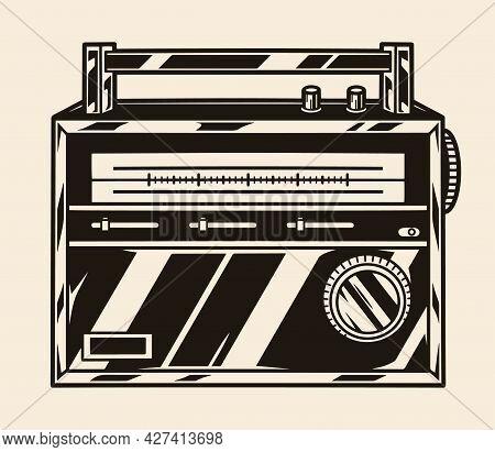 Portable Classic Retro Radio Concept In Vintage Monochrome Style Isolated Vector Illustration
