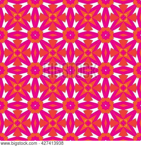 Raster Geometric Floral Seamless Pattern. Bold Pink And Orange Color On White Background. Simple Abs