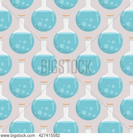 Vector Seamless Pattern Of Flasks Of Various Shapes. Vessels For Liquid. Colored Halloween Elements