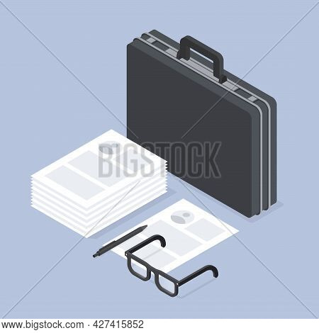 Job Recruiting Isometric Concept Illustration. Stack Of Paper Sheet Candidate Cv And Business Suitca