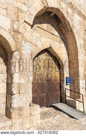 Jerusalem, Israel, July 17, 2021 : The Entrance Iron Gate In The Outer Wall Of The Tower Of David -