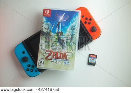 Samut Prakan, Thailand - July 21, 2021 : Nintendo Switch With A Box Of The Legend Of Zelda: Skyward