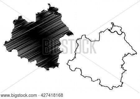 Salzland District (federal Republic Of Germany, Rural District, Free State Of Saxony-anhalt) Map Vec