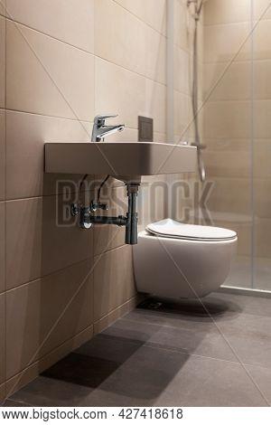 Interior of new apartment, minimalist modern bathroom design