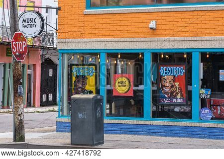 New Orleans, La - January 17: Famous Louisiana Music Factory Record Store On Frenchmen Street On Jan