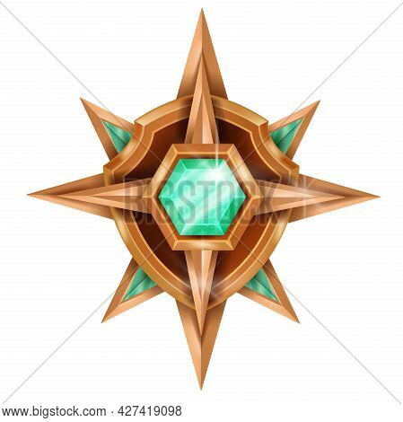 Gold Winner Game Badge Icon, Vector Rank Bronze Medal, Level Up Award Trophy, Green Crystal On White