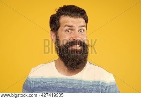 Macho With Stylish Hair. Portrait Of Brutal Bearded Man. Funny Stylish Man Smiling. Happy Brutal Bea