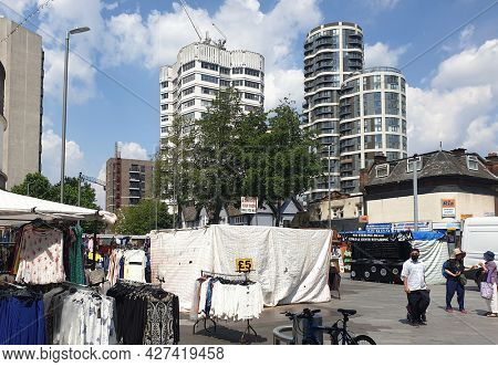 LONDON, UK  - 19TH JULY 2021: Barking town centre in Londons East end.