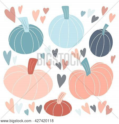 Cute Set Of Various Pastel Pumpkins Hand Drawn In Simple Childish Scandinavian Style, Colorful Heart