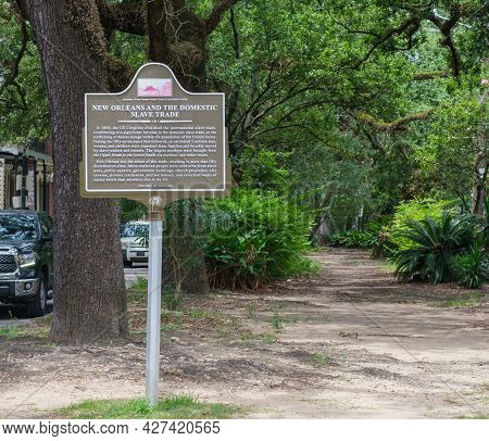 New Orleans, La - July 10: Historic Marker For The Domestic Slave Trade On Esplanade Avenue On July