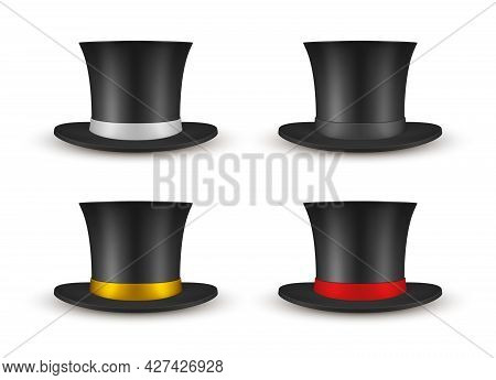 Collection Of Black Cylinder Hat With Ribbon Vector Illustration Gentleman Vintage Tall Headdress