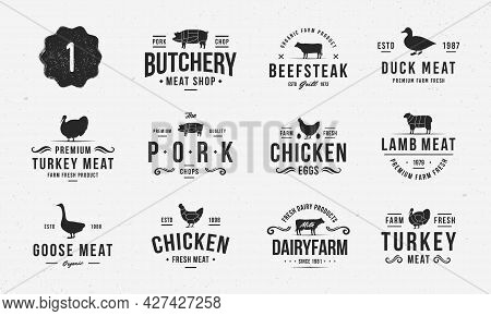 Set Of Farm Animals Logo And Poster Templates. Livestock And Butchery Logo Set For Meat Shop, Grocer