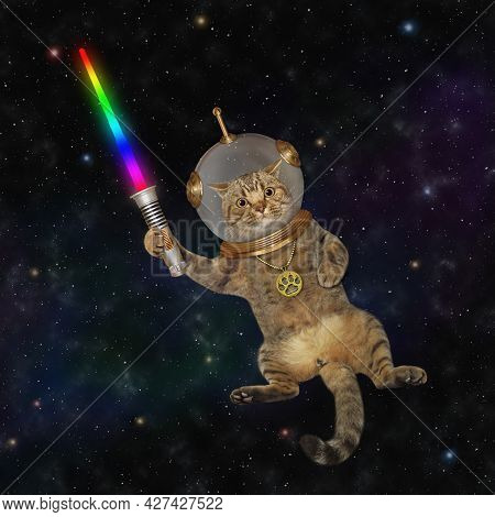 A Beige Cat Astronaut Wearing A Space Suit With A Glowing Sword Is In Outer Space.